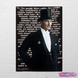 Atatürk genclige hitabe kanvas tablo
