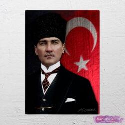 Atatürk Türk Bayrağı kanvas tabo