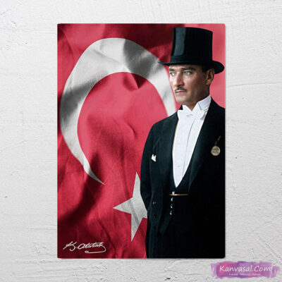 Atatürk Smokinli Türk Bayrağı kanvas tablo